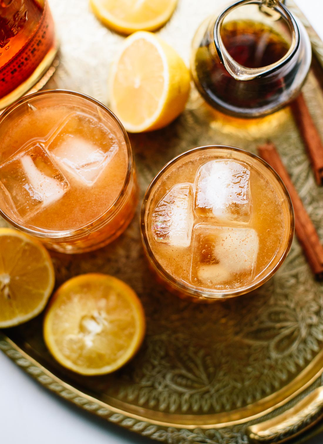 Cinnamon spiced, naturally sweetened whiskey sour -