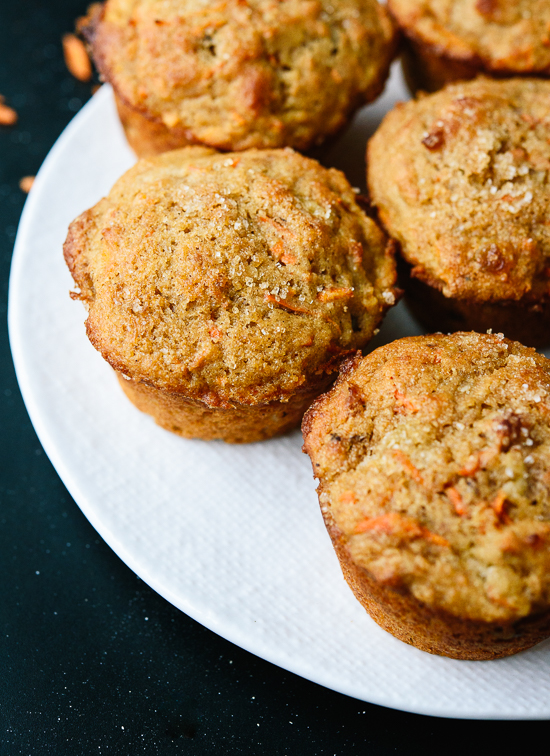 Healthy carrot muffins made with whole wheat flour, coconut oil and maple syrup - cookieandkate.com