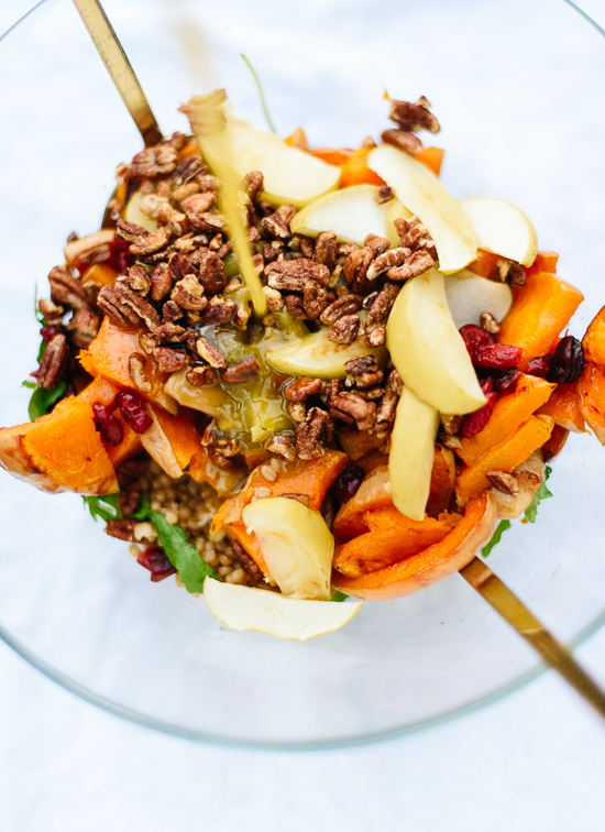 How to make a hearty, roasted-butternut squash and apple salad! cookieandkate.com