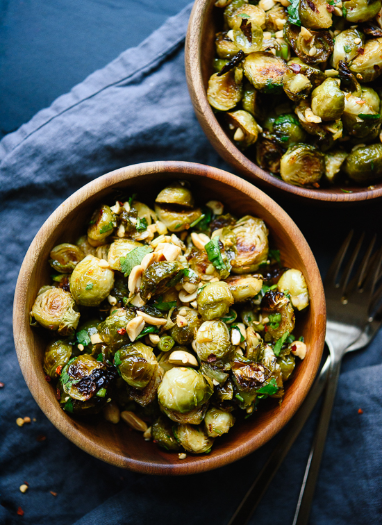 Roasted Brussels sprouts tossed with spicy Kung Pao sauce! Delicious. cookieandkate.com