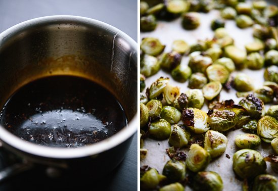 roasted brussels sprouts and sauce