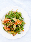 This roasted butternut squash and apple is a meal in itself! Arugula, wheat berries and gingery dressing round out the dish. - cookieandkate.com