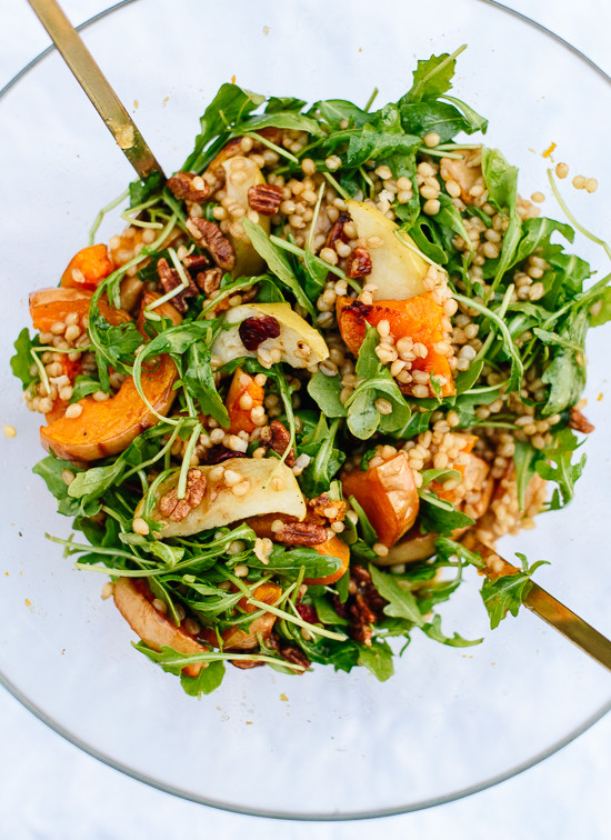 Roasted butternut squash, apple and wheat berry salad with ...