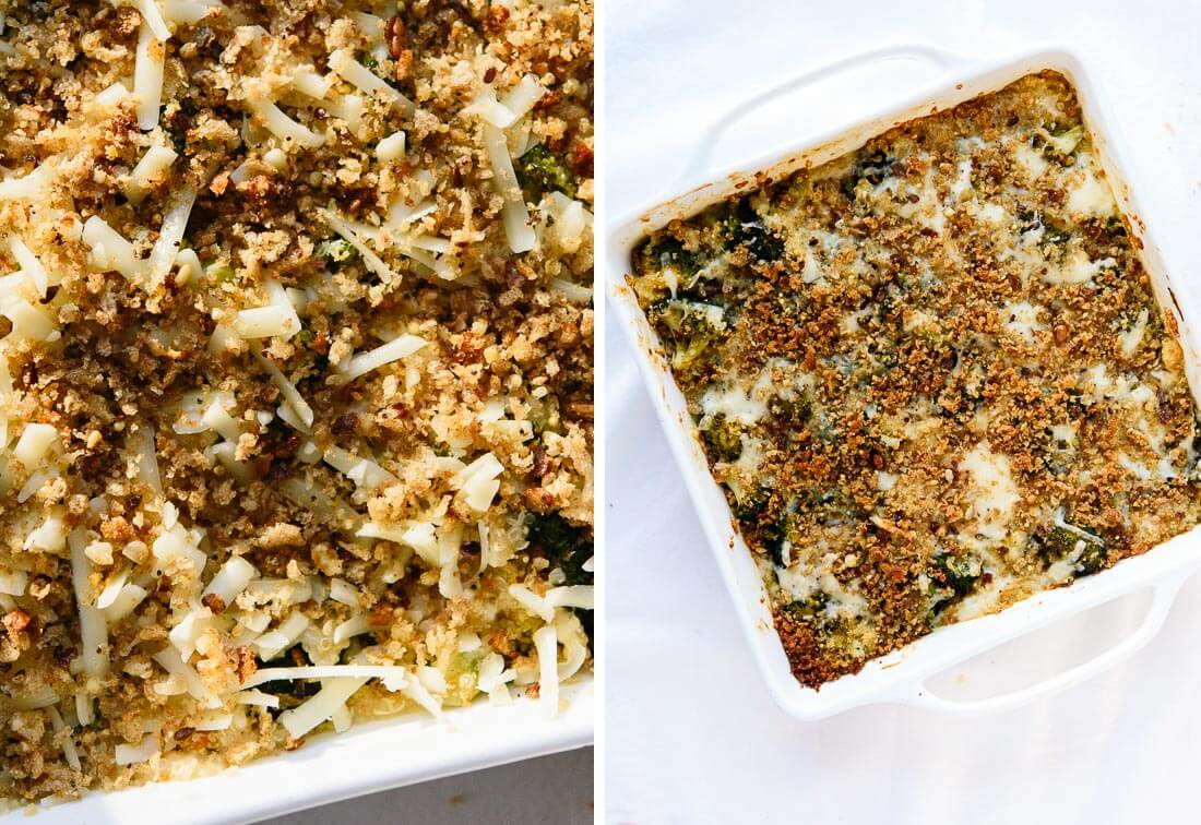 Broccoli casserole with breadcrumbs