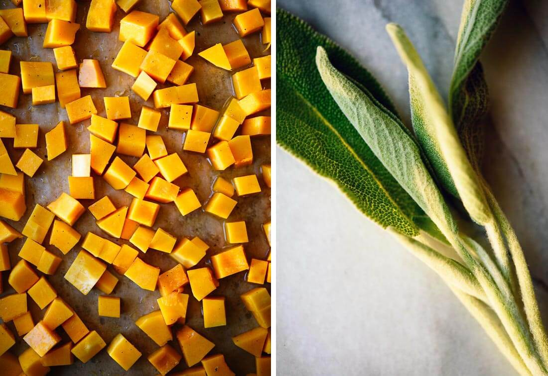 cubed butternut and sage