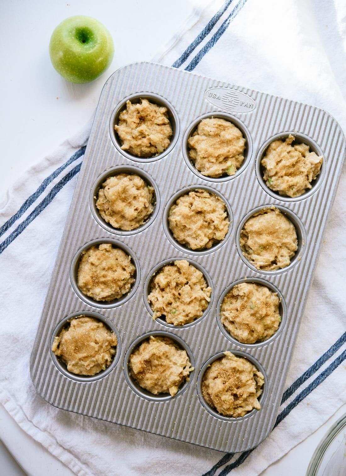 Healthy apple muffins before baking