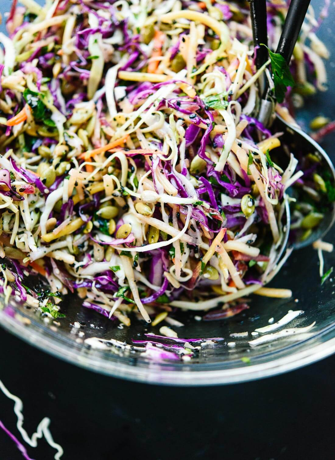 Healthy coleslaw recipe with sunflower and pumpkin seeds - cookieandkate.com