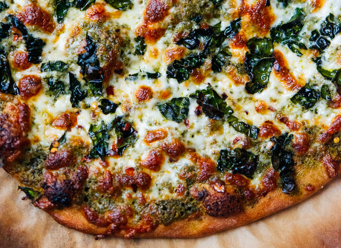 kale pesto on pizza