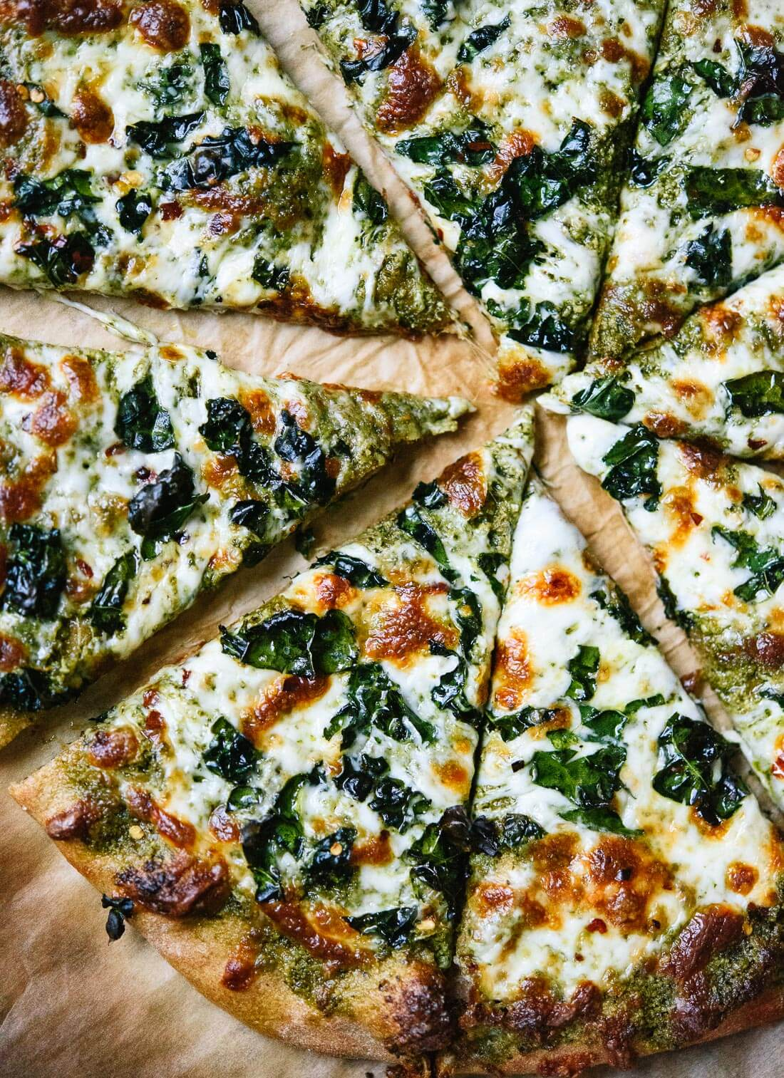 kale pesto pizza recipe - cookie and kate