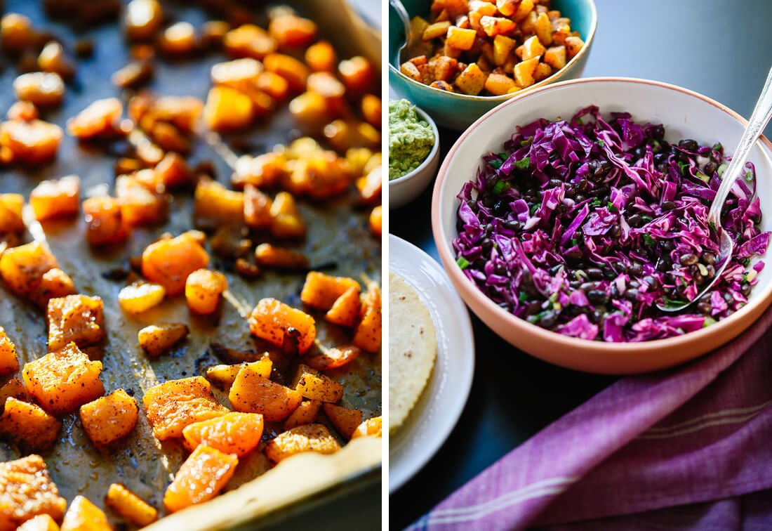 roasted butternut and cabbage slaw