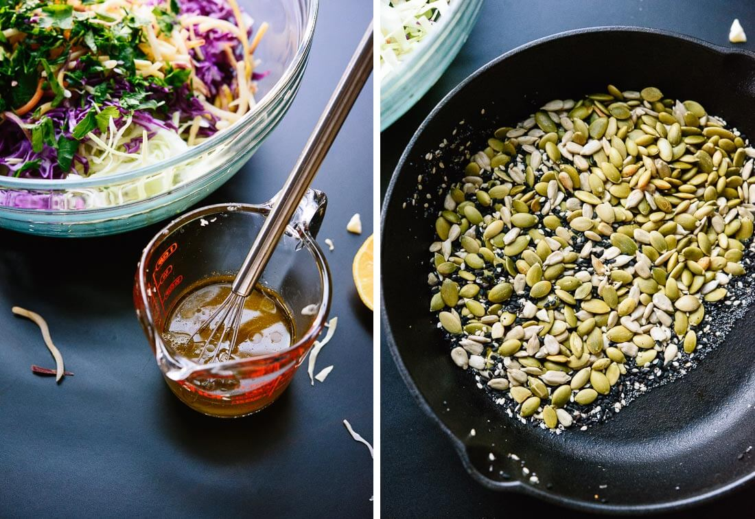 lemon dressing and toasted seeds
