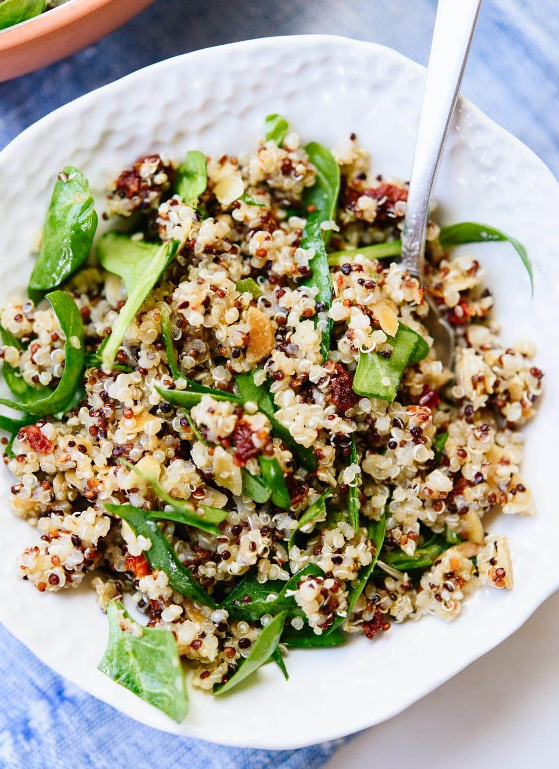 Simple sun-dried tomato, quinoa and spinach salad - cookieandkate.com