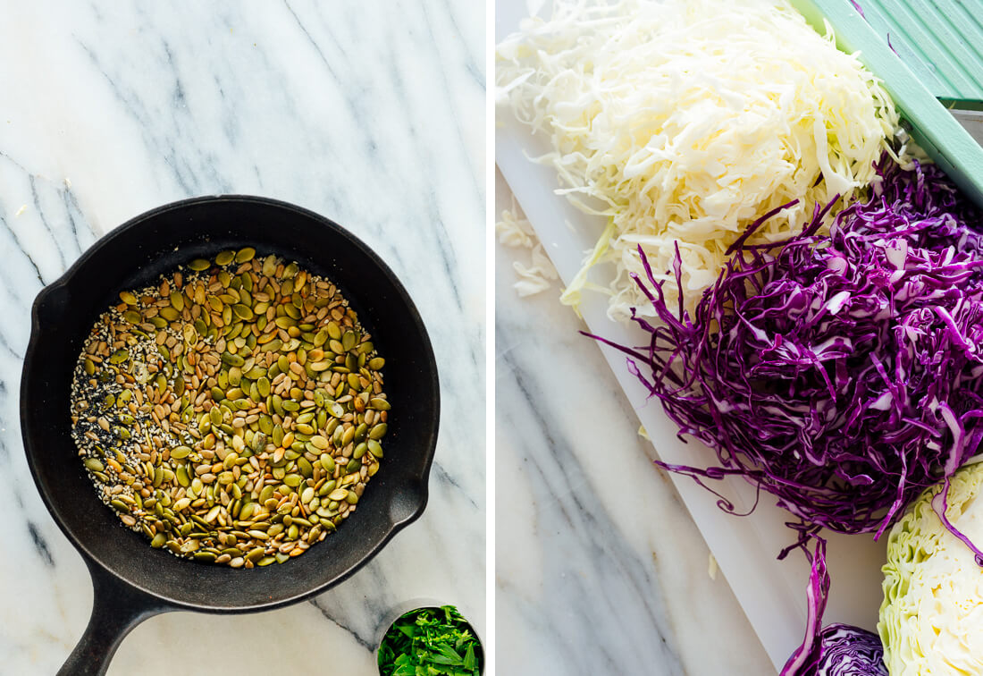 toasted seeds and shredded cabbage