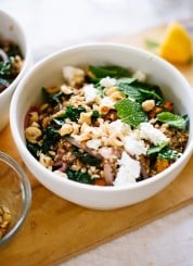 Mediterranean sweet potato farro salad recipe with kale, fresh mint and hazelnuts - cookieandkate.com