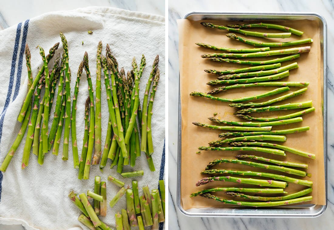 asparagus prepared for roasting