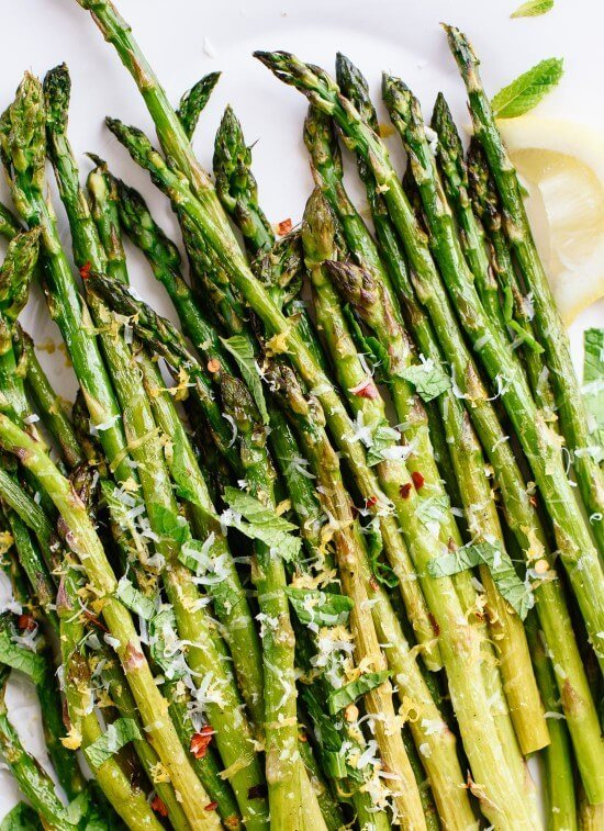 Roasted asparagus with lemon and Parmesan is a beautiful side dish! - cookieandkate.com