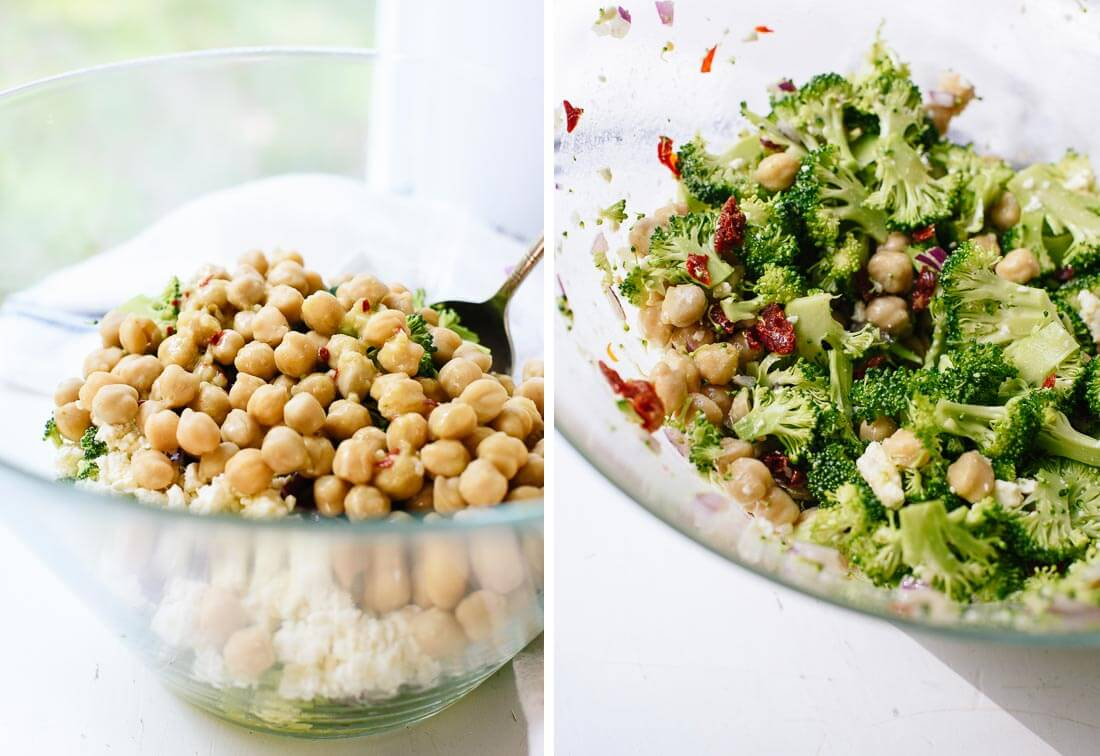broccoli chickpea salad with lemon garlic dressing
