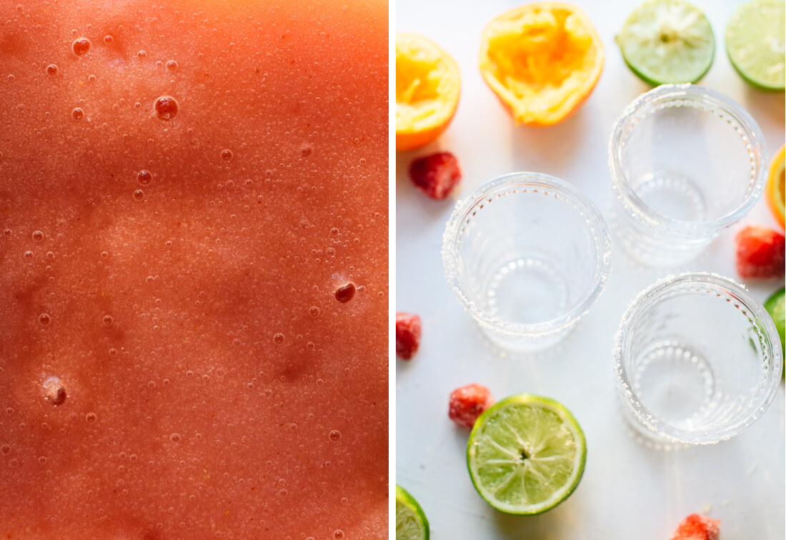 frozen strawberry margarita preparation