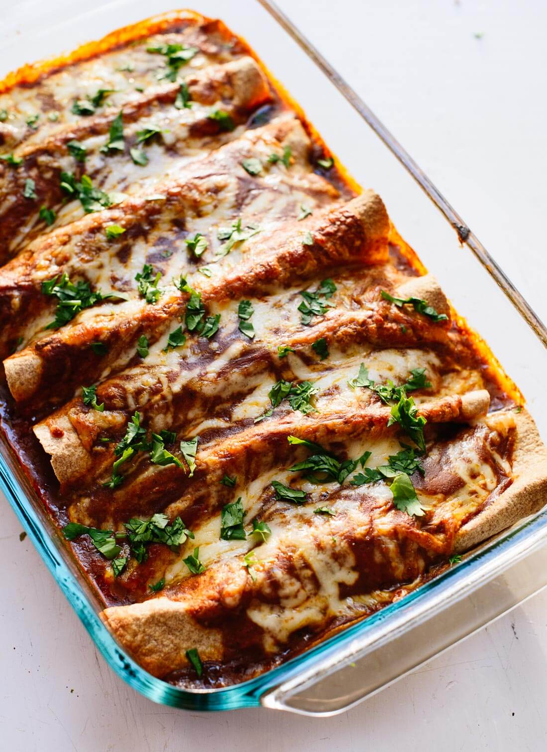 Enchiladas with homemade red enchilada sauce! cookieandkate.com