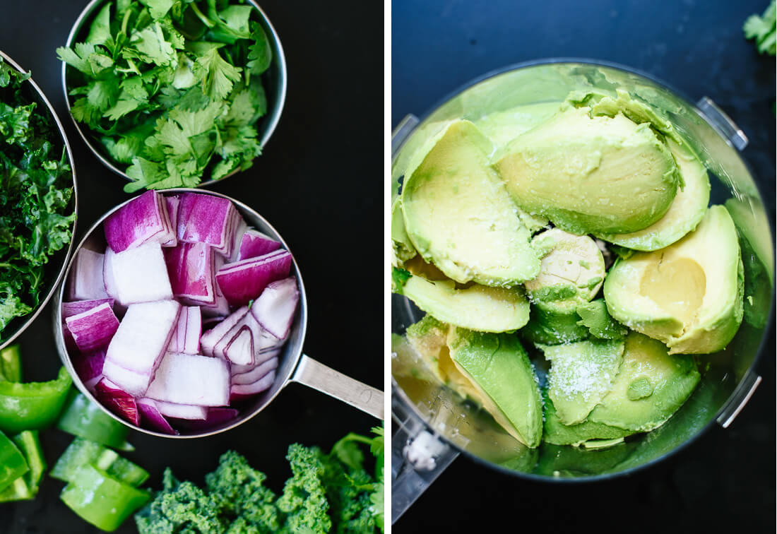kale, cilantro and red onion