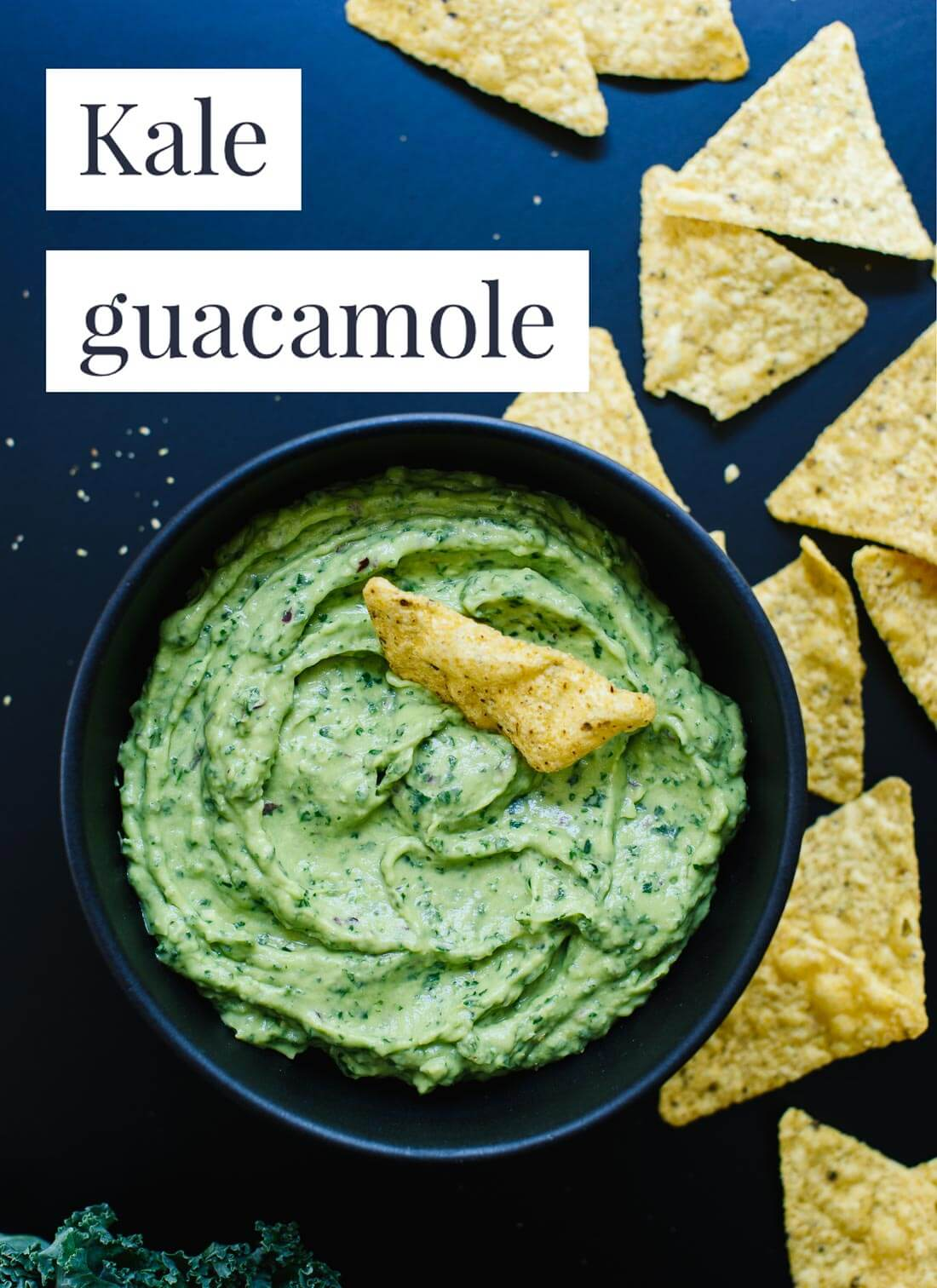 This kale guacamole recipe is delicious, nutritious and so easy to make! cookieandkate.com