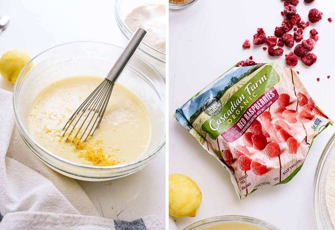 lemon batter and frozen raspberries