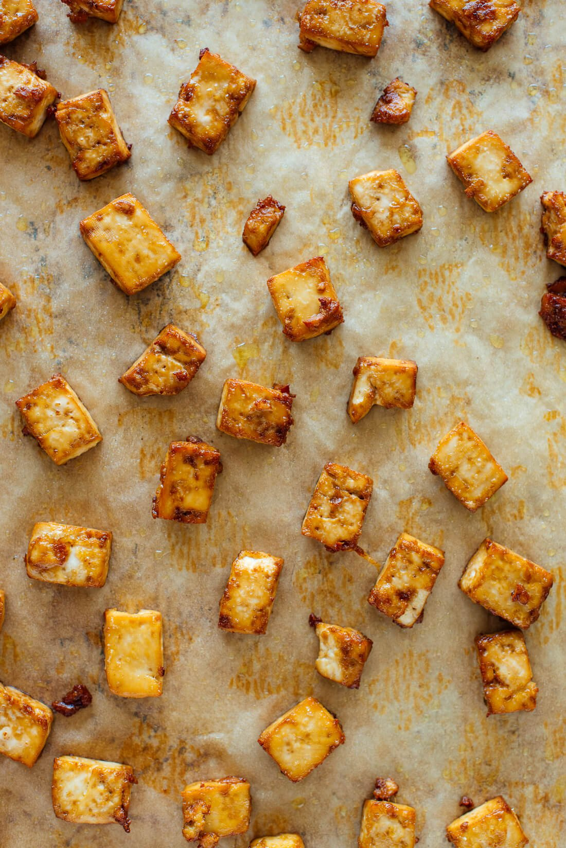 crispy baked tofu on sheet pan