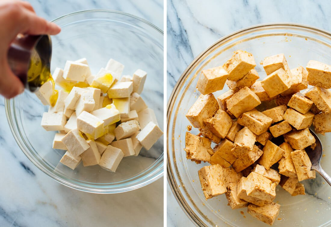 cubed tofu tossed in tamari (soy sauce, oil and cornstarch (or arrowroot starch)