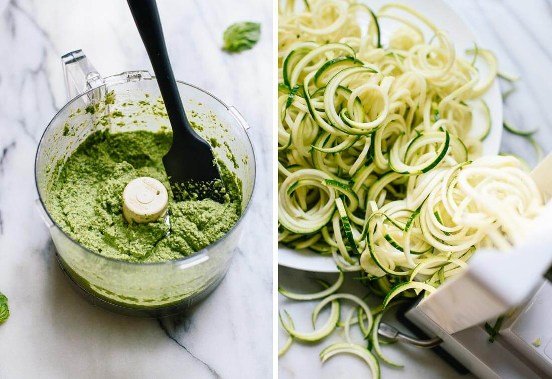 pesto and zucchini noodles