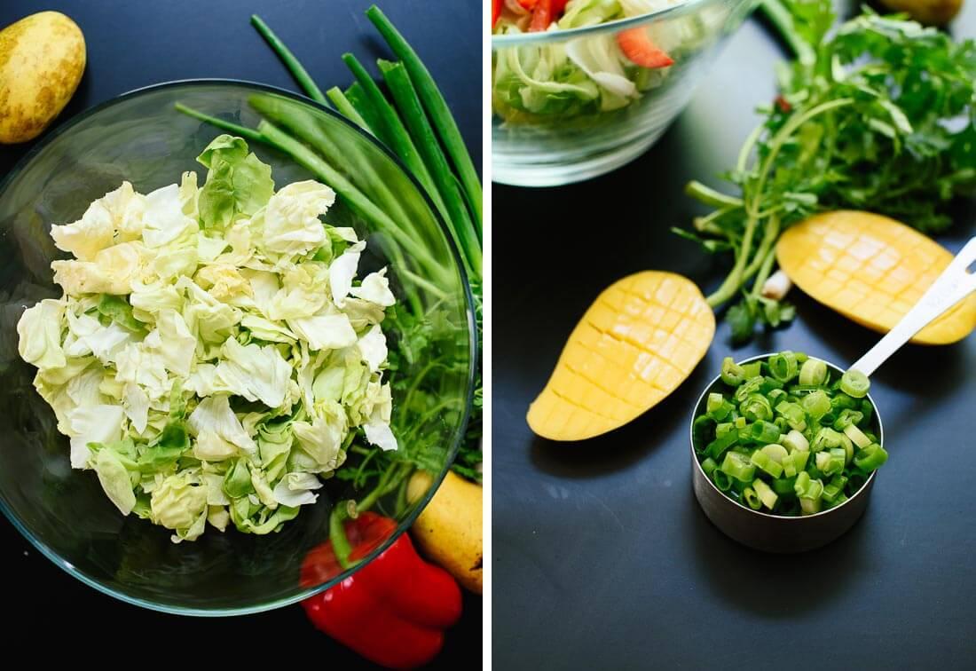 Thai mango salad ingredients
