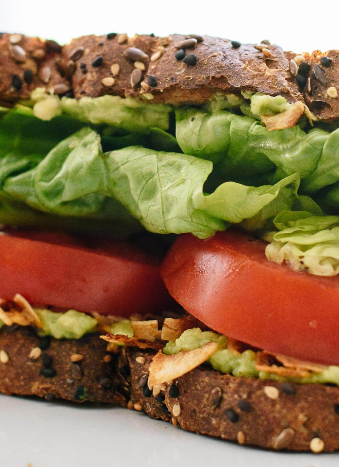 Delicious vegan BLT sandwich recipe with coconut bacon and avocado! cookieandkate.com