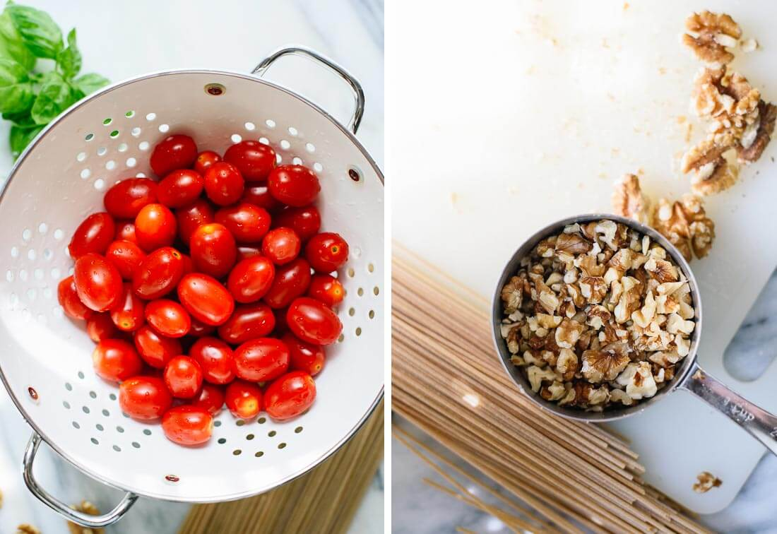 cherry tomatoes and spaghetti