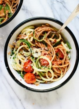 Double Tomato Pesto Spaghetti with Zucchini Noodles