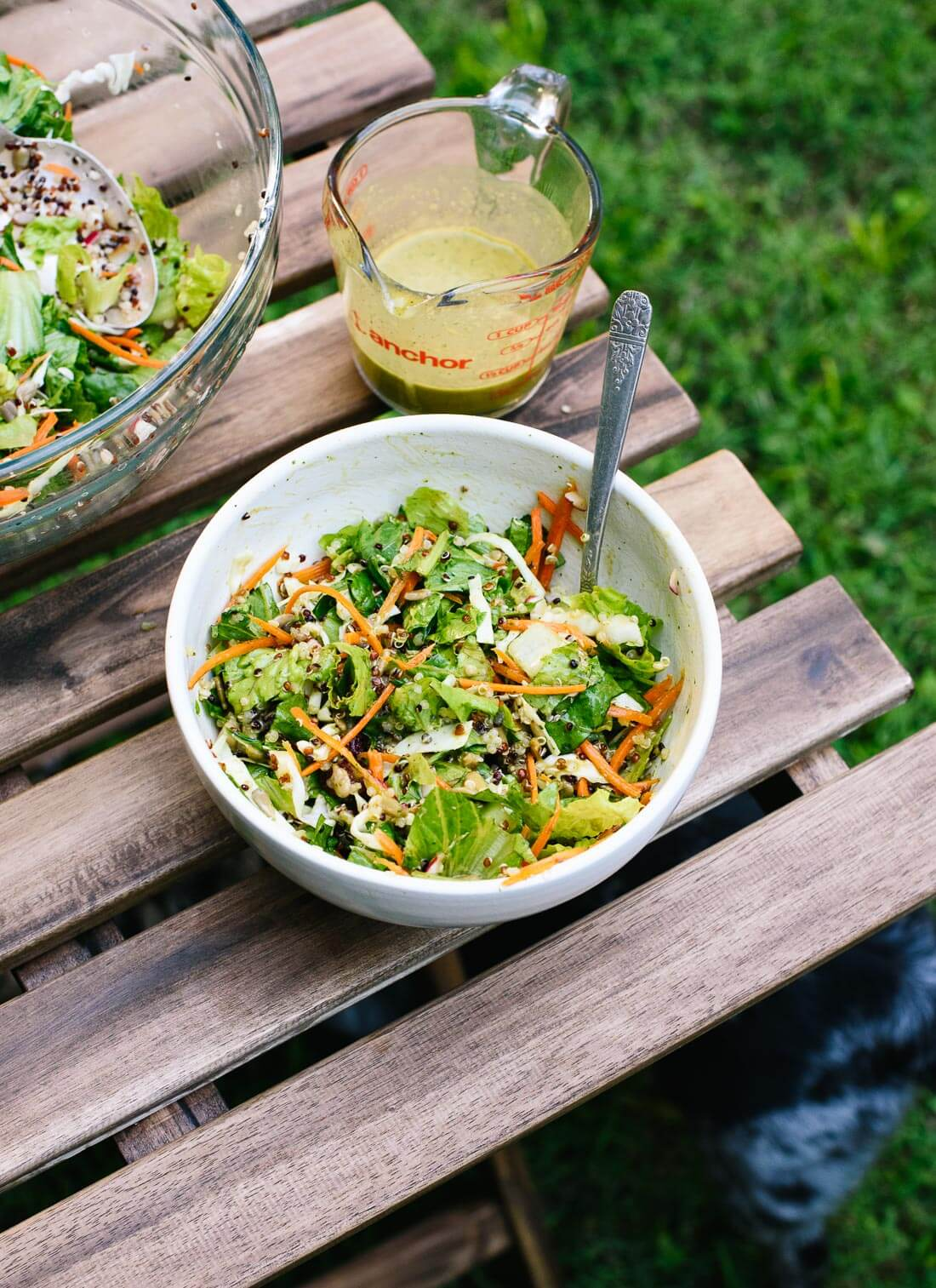 This mega crunchy salad recipe is refreshing and filling. Perfect for hot days! cookieandkate.com