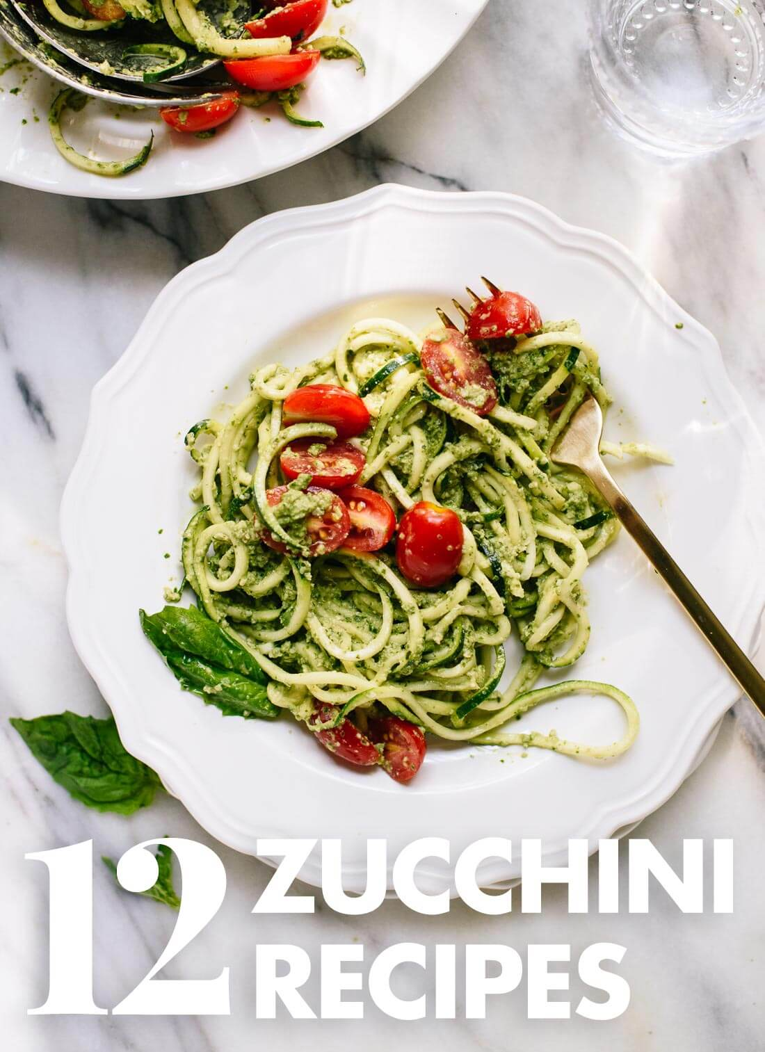 Find 12 healthy and light zucchini recipes here! Zucchini noodle pastas, quinoa salads, and more. cookieandkate.com