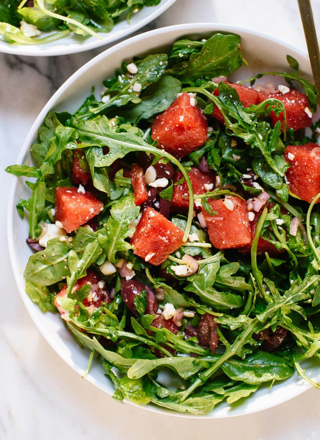 Sweet and savory arugula watermelon salad recipe with tangy feta - cookieandkate.com