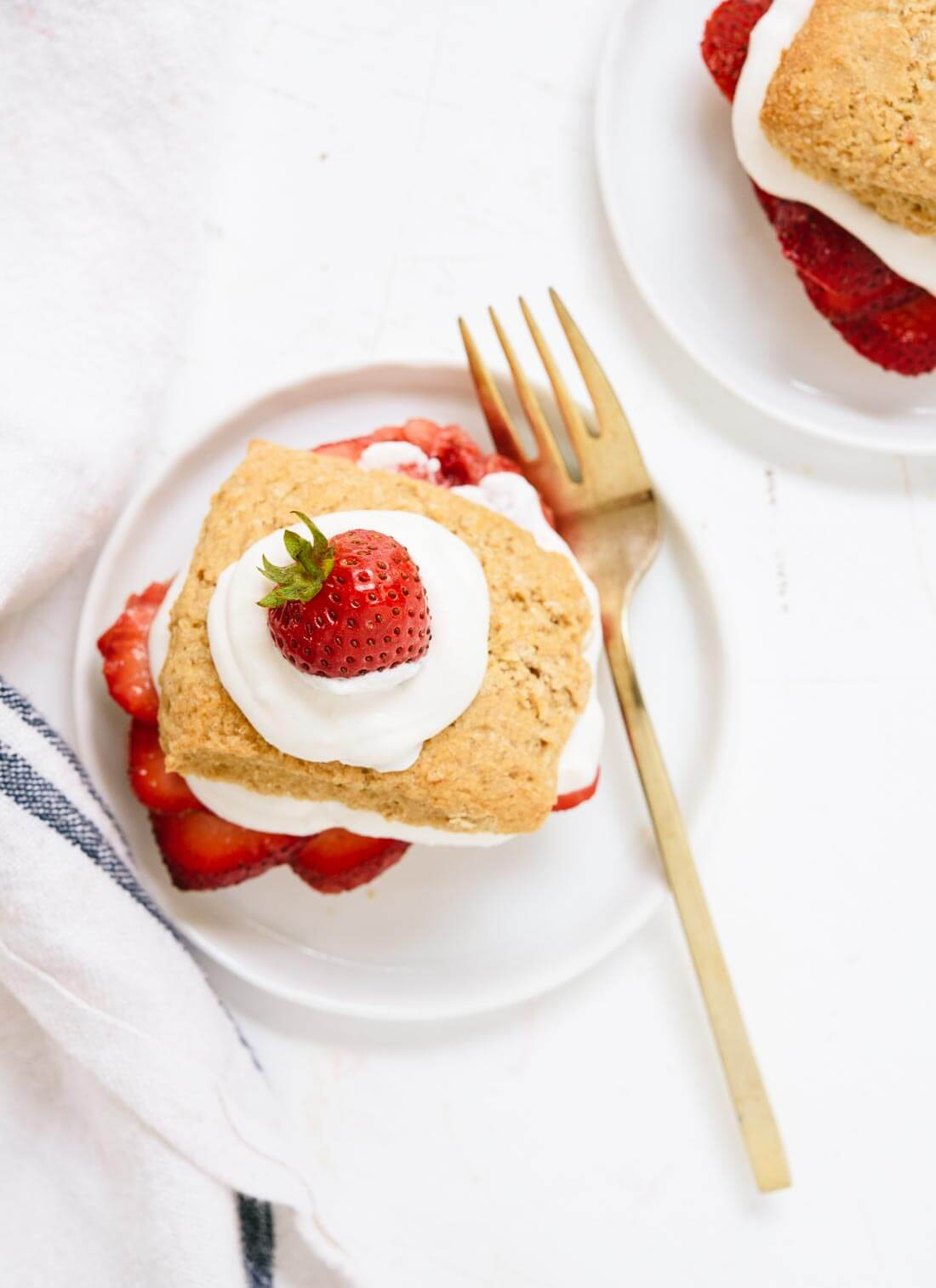 This strawberry shortcake recipe is the best! Naturally sweetened, whole grain, and delicious. cookieandkate.com
