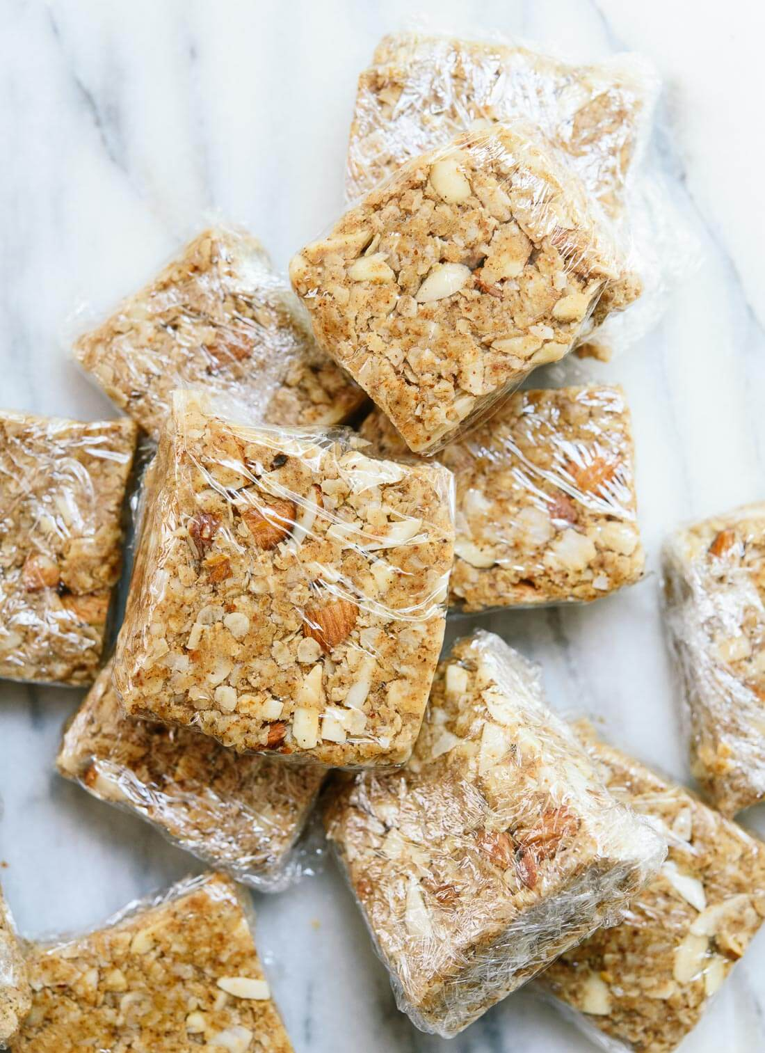 No-bake almond-coconut granola bars are a healthy, energy-rich snack when hunger strikes! cookieandkate.com