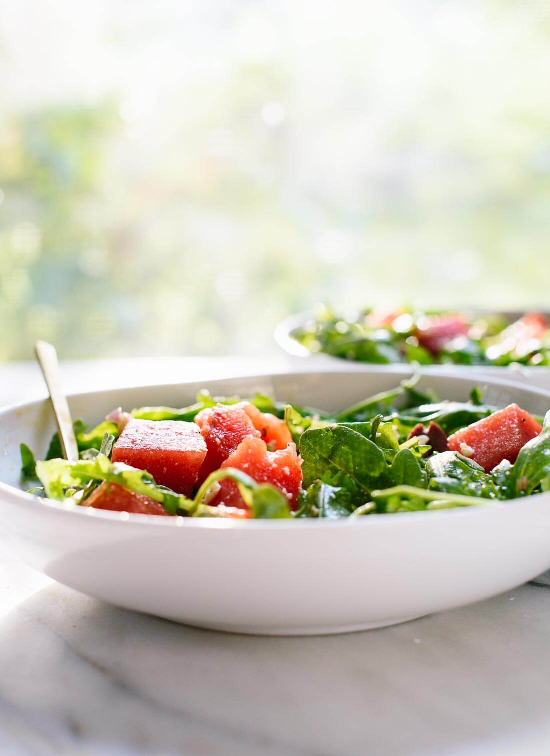 An amazing sweet and savory watermelon salad. Make it before summer ends! cookieandkate.com