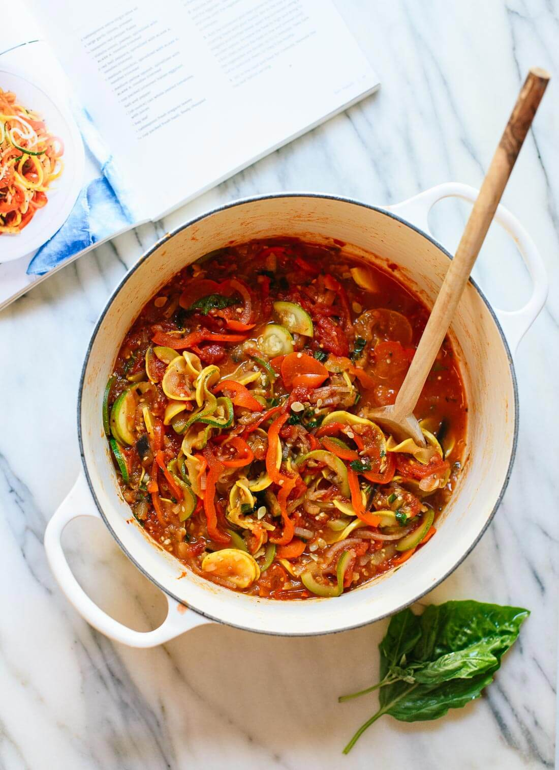 Quick and easy spiralized ratatouille recipe, perfect for summer dinners! cookieandkate.com