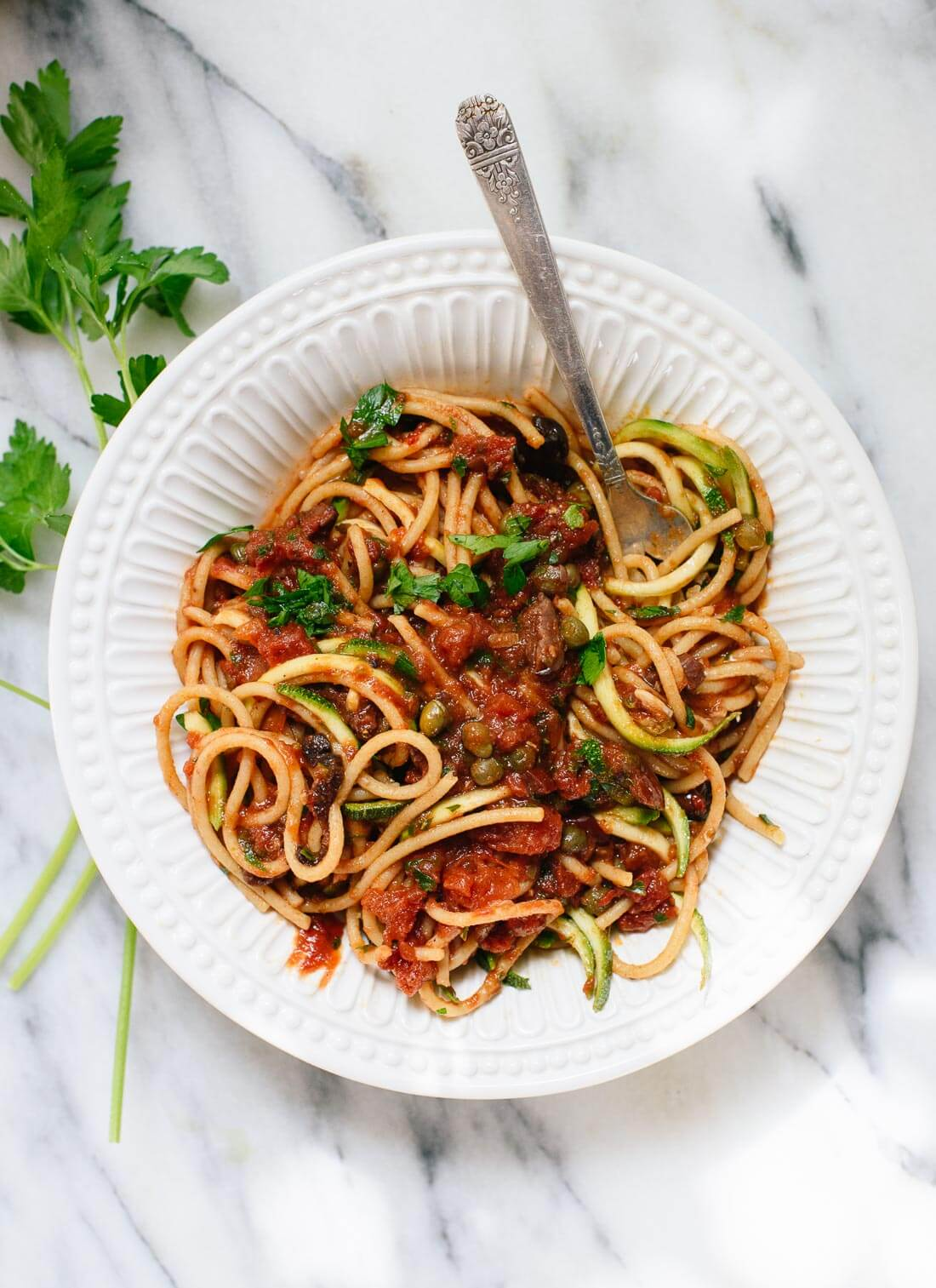Super simple vegan spaghetti alla puttanesca, a perfect meal for busy weeknight dinners - cookieandkate.com