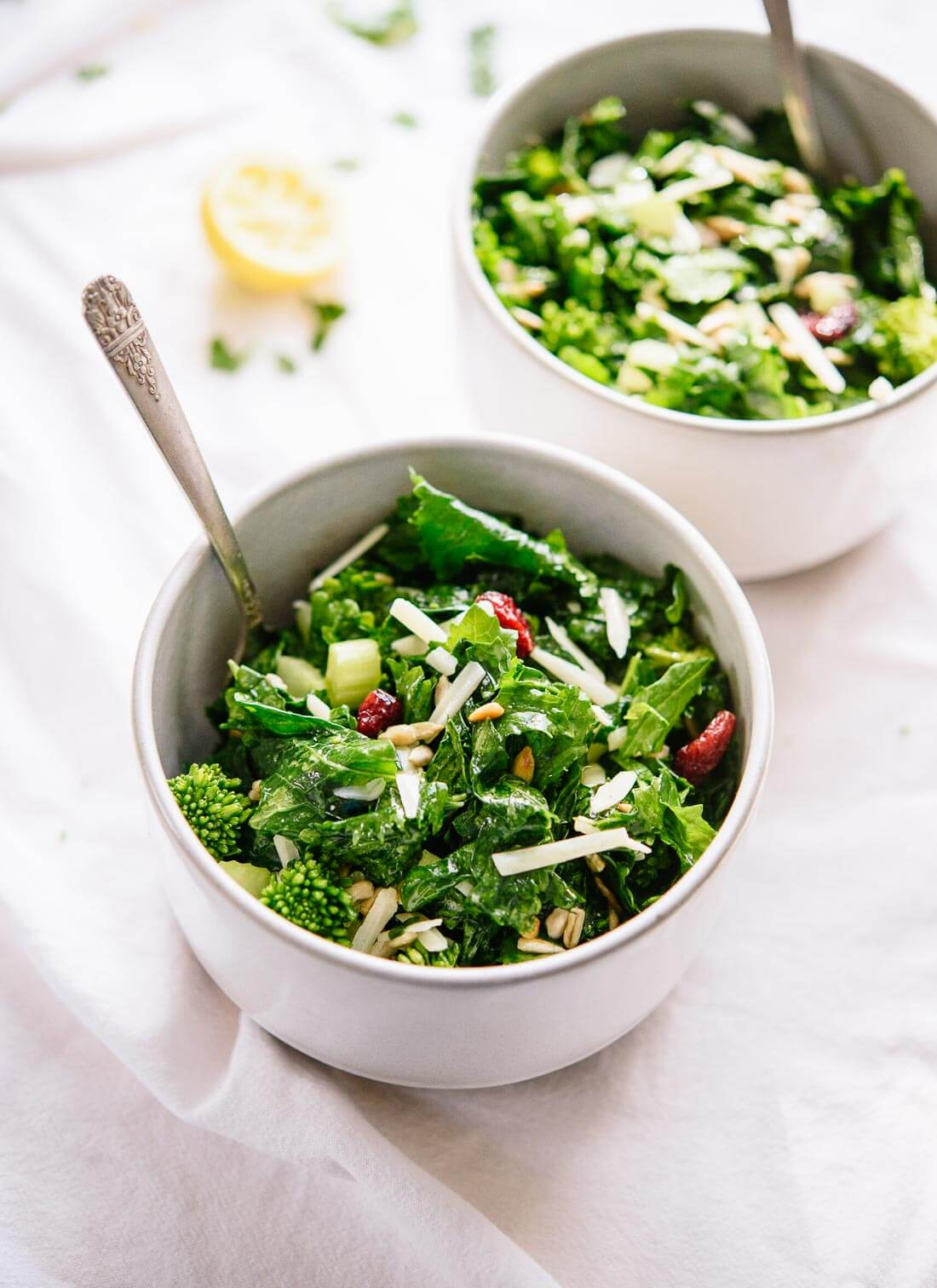 Massaged Broccoli Rabe Salad with Sunflower Seeds & Cranberries