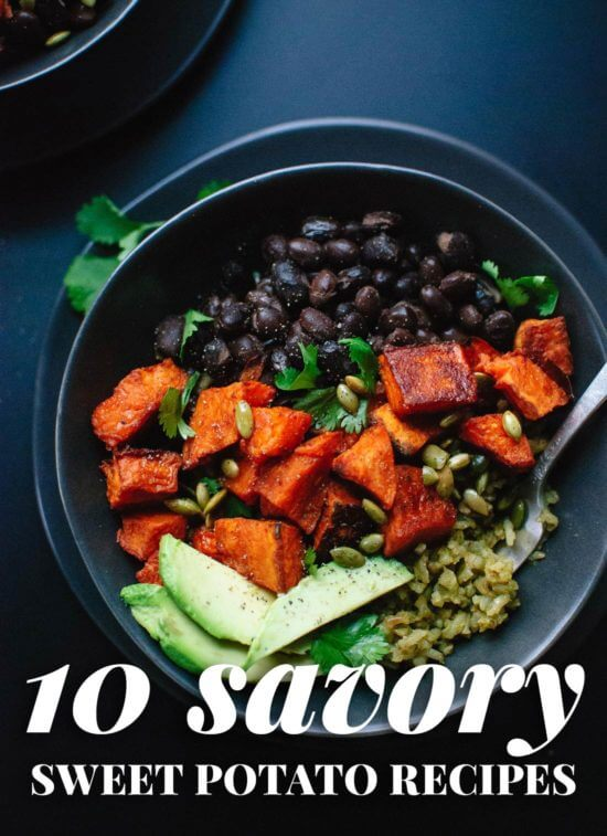 If you love spicy, savory sweet potatoes, check out this roundup of 10 delicious recipes! You'll find sweet potato chili, burritos, veggie burgers and more. cookieandkate.com