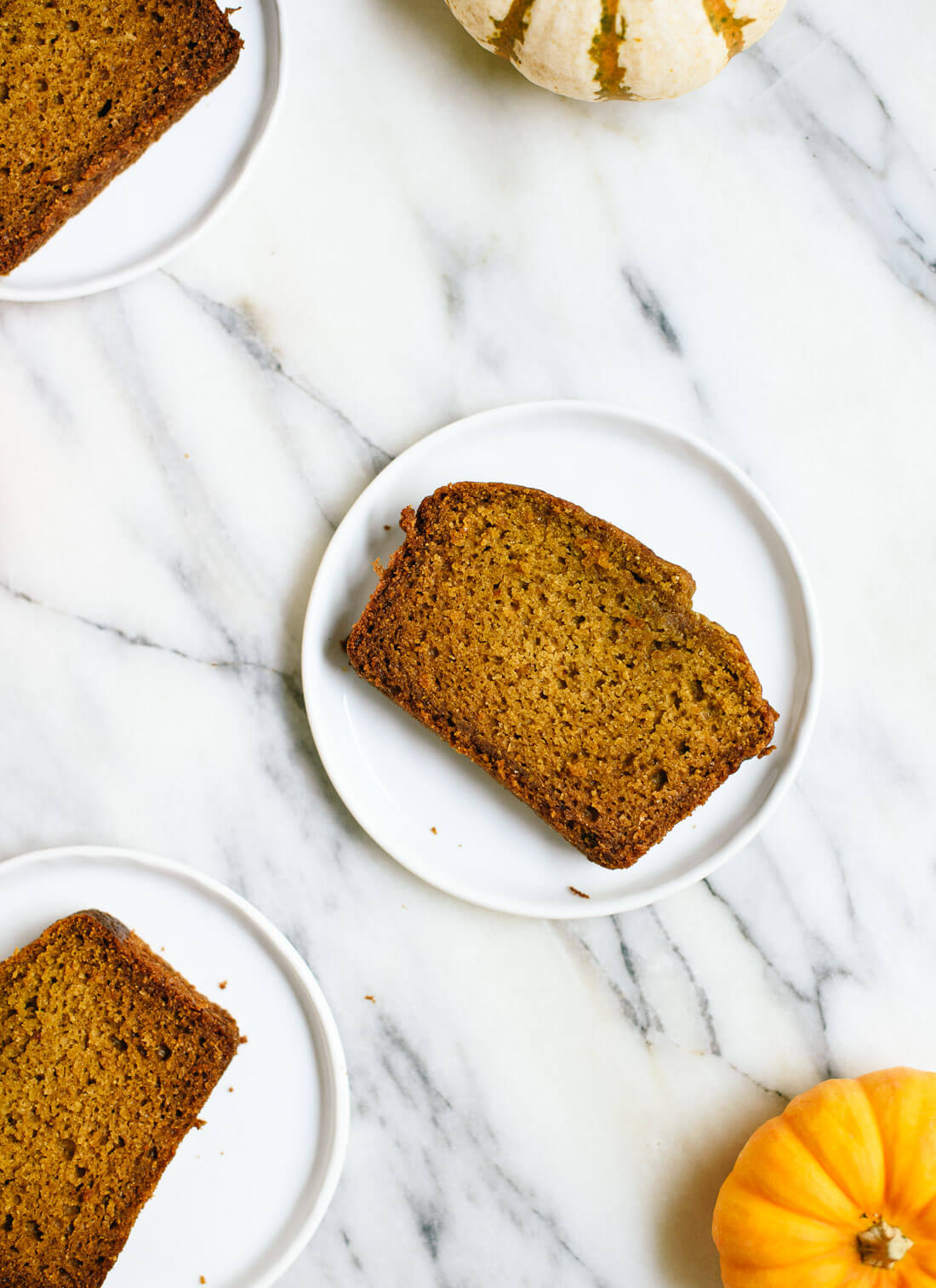 Amazing healthy pumpkin bread made with honey, coconut oil, and whole wheat flour (no one will ever guess) - cookieandkate.com