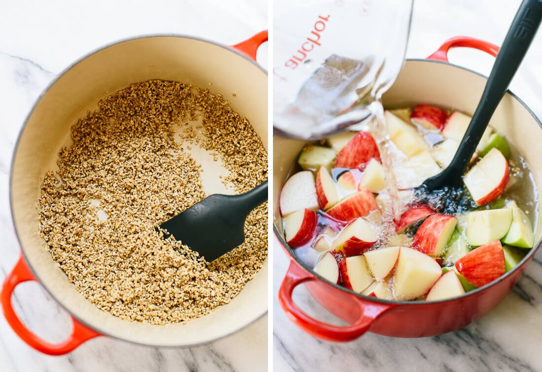 how to make apple steel-cut oats
