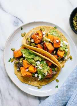 Sweet Potato & Black Bean Tacos with Avocado-Pepita Dip