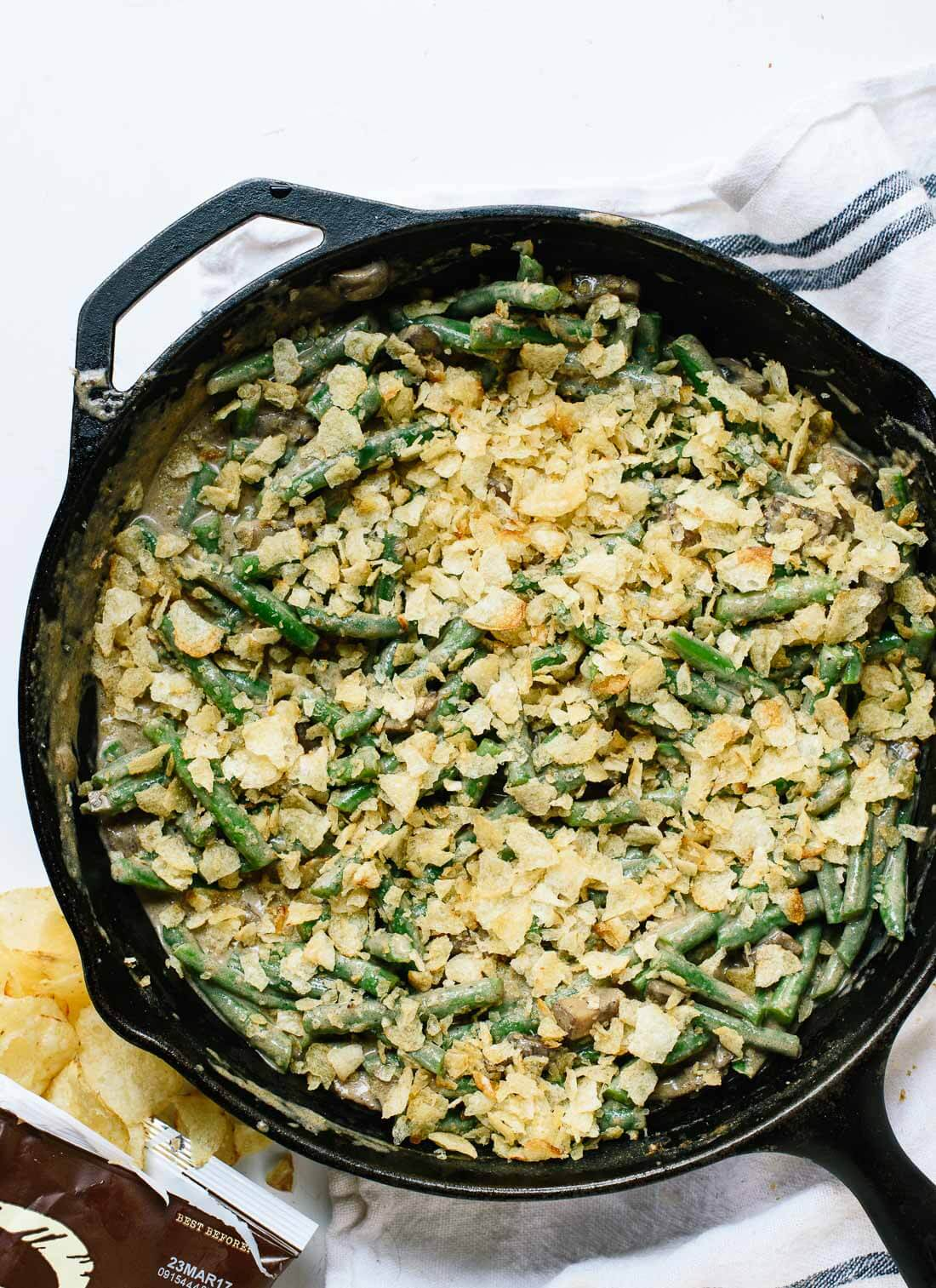Delicious, lighter green bean casserole has one surprise ingredient—potato chips instead of fried onions! As such, it's gluten free. cookieandkate.com