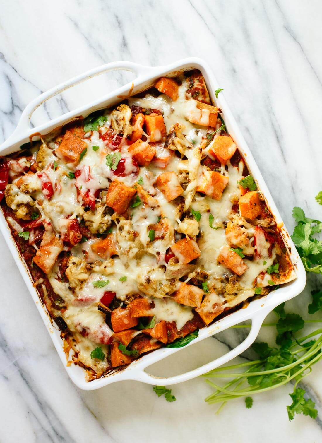 Roasted Veggie Enchilada Casserole - Cookie and Kate