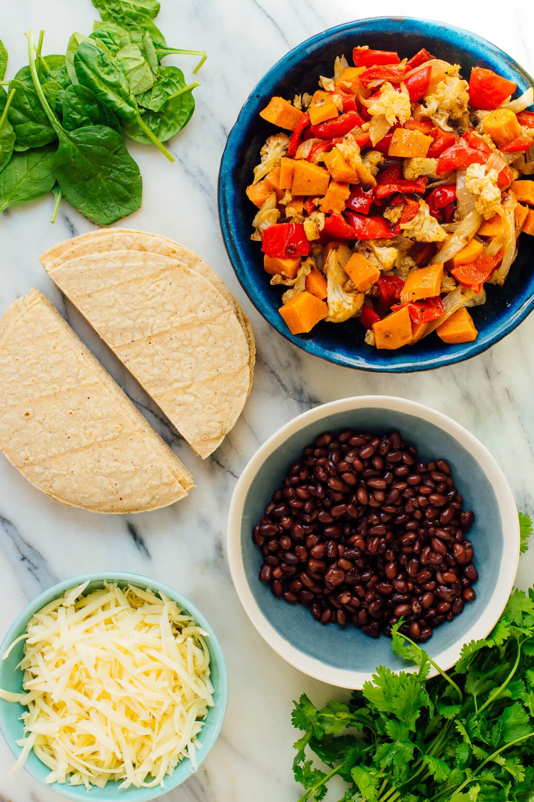roasted vegetables and black beans