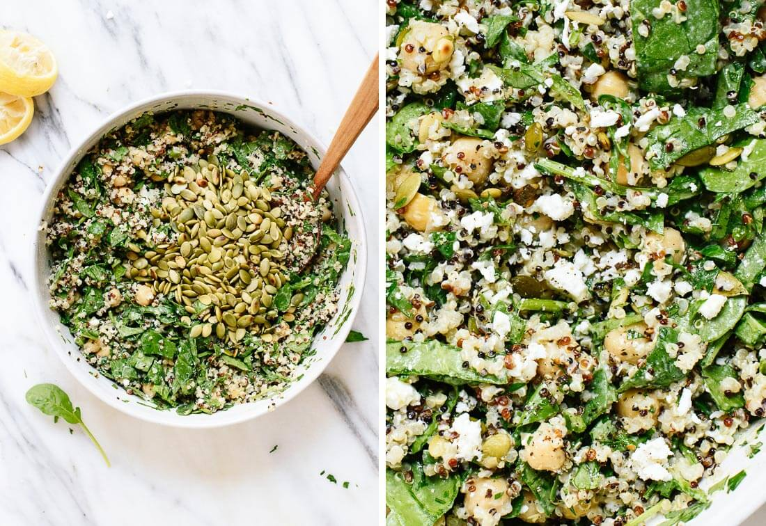 spinach quinoa salad with herbs